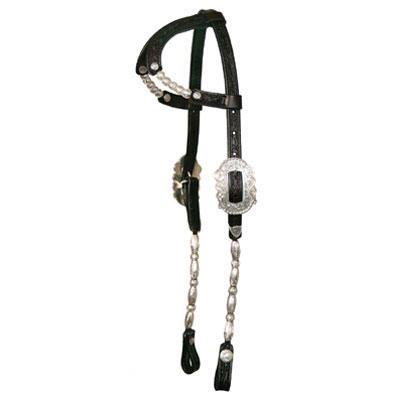 Circle Y Double Ear Show Headstall with Silver Ferrule