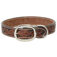 Weaver Leather Carved Chestnut Dog Collar - TB