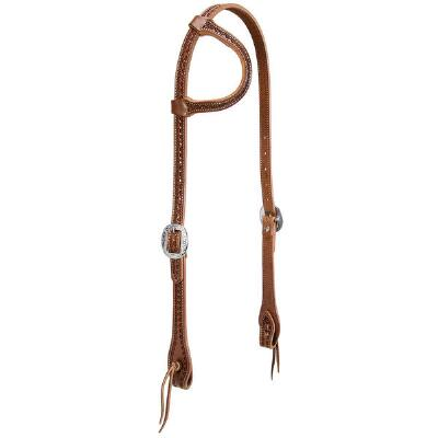 Hand Tooled Heart Flat Sliding Ear Headstall