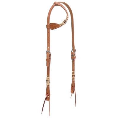 Harness Leather Rawhide Flat Sliding Ear Headstall Russet