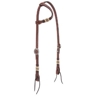 Basketweave Rawhide Accent Sliding Ear Headstall