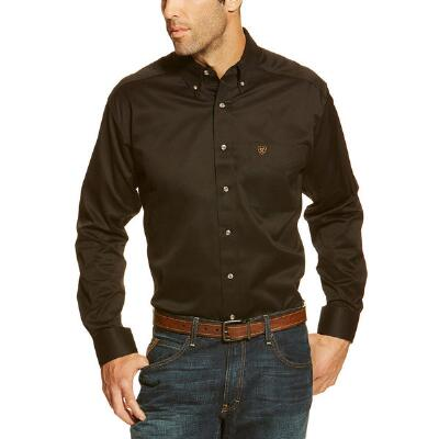 Ariat Mens Solid Twill Classic Fit Western Shirt in Black