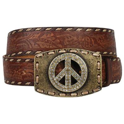 Ladies City Girl Vintage Tooled Leather Belt