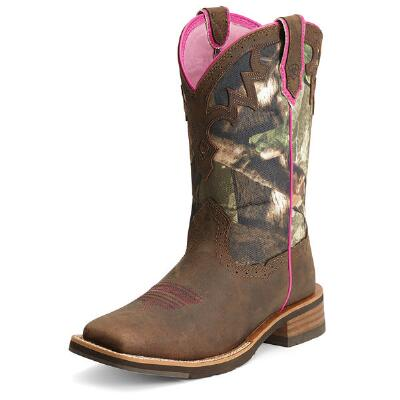 Unbridled Camo Square Toe Ladies Western Boot