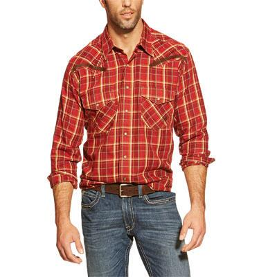 Ariat Hart Plaid Snap Double Pocket Mens Wetern Shirt