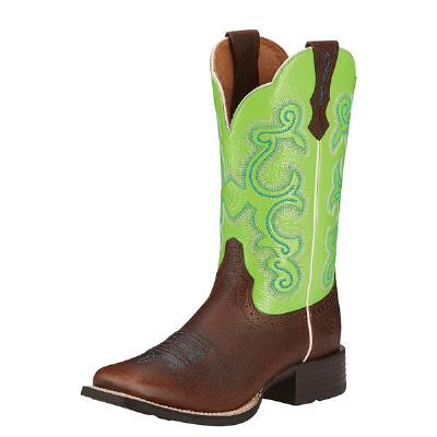 Quickdraw Ladies Western Boot Scratched Chestnut