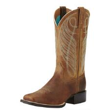 Round Up Square Toe Powder Brown Ladies Western Boot