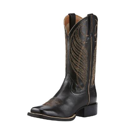 Round Up Square Toe Black Ladies Western Boot