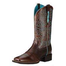 Ariat Round Up Remuda Naturally Dark Brown Ladies Western Boot - TB