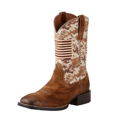 Ariat Sport Patriot Mens Sand Camo Western Boot