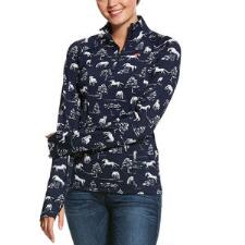Ariat Lowell Horse Print Quarter Zip Ladies Pull Over - TB