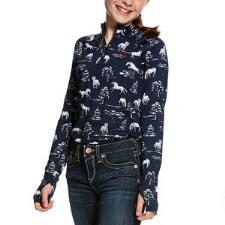 Ariat Lowell Horse Print Quarter Zip Girls Pull Over - TB