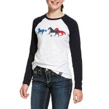 Ariat Running Horses Girls Long Sleeve Tee - TB