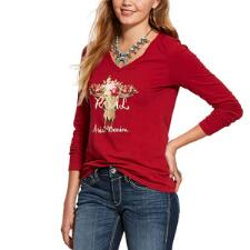 Ariat REAL Rose Skull Long Sleeve Ladies Tee - TB