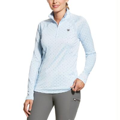 Ariat Sunstopper 2.0 Baselayer Ladies Blue Dot Quarter Zip