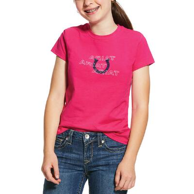 Ariat Puff Print Horseshoe Short Sleeve Girls Tee
