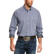 Ariat Wrinkle Free Solid Oxford Deep Petroleum Mens Western Shirt - TB