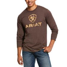 Ariat Brown Digi Camo Logo Long Sleeve Mens Tee - TB