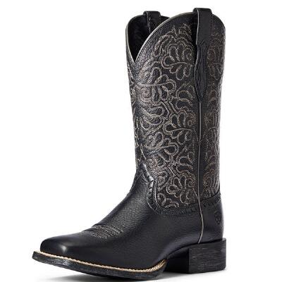 Ariat Round Up Black Deertan Remuda Ladies Western Boots