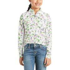 Ariat Sunstopper 2.0 Baselayer Youth Cross Country Print Quarter Zip - TB