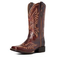 Ariat Round Up Flutter Mohogany Ladies Western Boot - TB