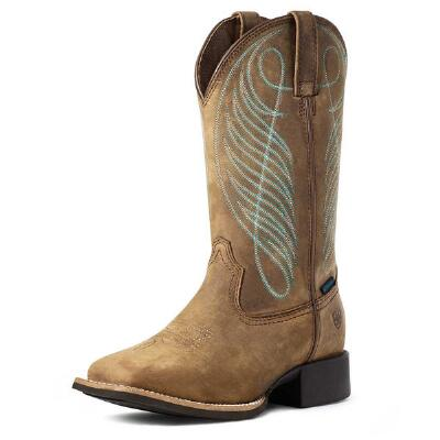 Ariat Round Up H2O Distressed Brown Ladies Western Boots