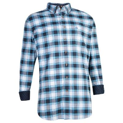 Noble Outfitters Navy Plaid Generations Mens Western Shirt