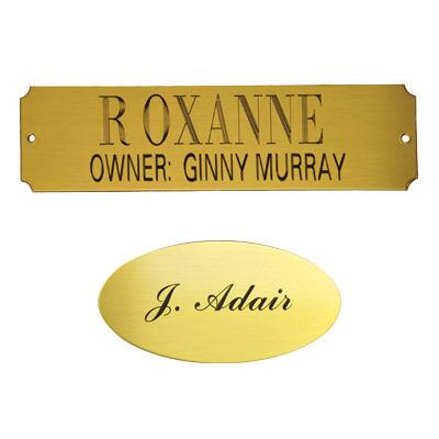 Engraved Stall Plaque Brass