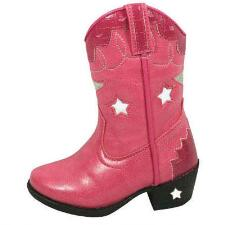 Austin Lights Kids Western Boot Pink Blinking Light Stars