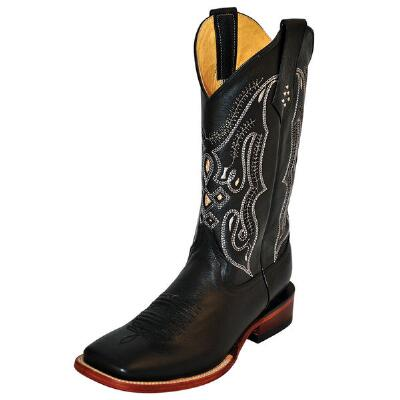 Black Cowhide Mens Western Boot