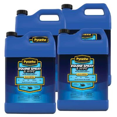 Pyranha Equine Spray and Wipe Insect Repellent Gallon Case of 4