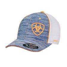 Ariat Heather Blue with Orange Logo Baseball Cap - TB
