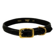 Raised Leather Dog Collar Black