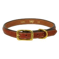 Raised Leather Dog Collar Oakbark - TB