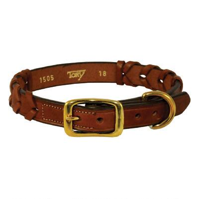 Dog Collar Laced Leather Oakbark
