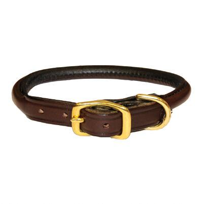 Dog Collar Rolled Leather Havana