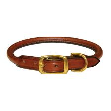 Dog Collar Rolled Leather Oakbark - TB