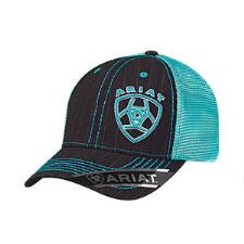 Ariat Black Pinstripe with Teal Logo Baseball Cap - TB