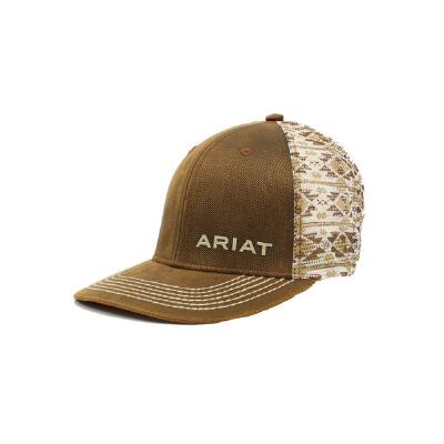 ab81e4a88 Ariat Distressed Brown and Aztec Print Baseball Cap