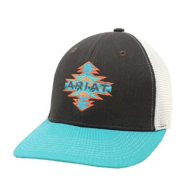Ariat Grey and Turquoise with Aztec Logo Baseball Cap