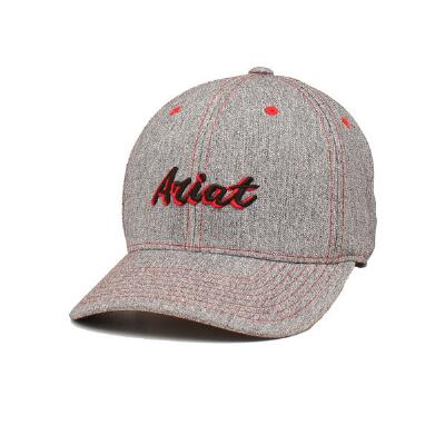 Ariat Grey with Red Script Logo Baseball Cap