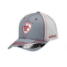Ariat Grey with Red and White Accent Baseball Cap - TB