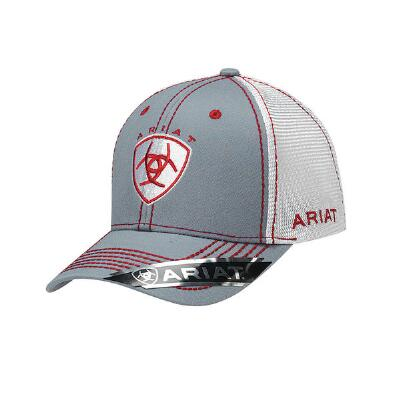 Ariat Grey with Red and White Accent Baseball Cap