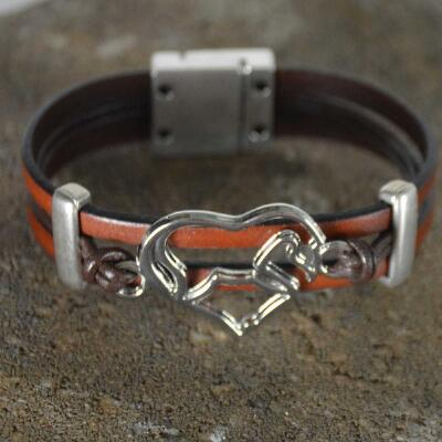 Lilo Collections Amor Horse Leather Metal Cuff Bracelet