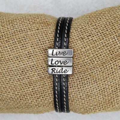 Lilo Collections Live Love Ride Leather Bracelet