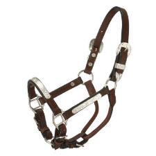 Miniature Leather Show Halter With Silver Bars - TB