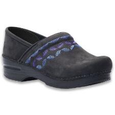 Dansko Embroidered Pro Black Nubuck Stapled Ladies Clog