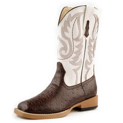Roper Ostrich Kids Square Toe Western Boot Brown White