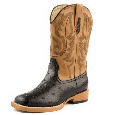 Roper Ostrich Kids Square Toe Western Boot Black Tan