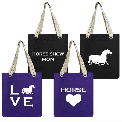 Horse Show Mom Cotton Canvas Tote Bag